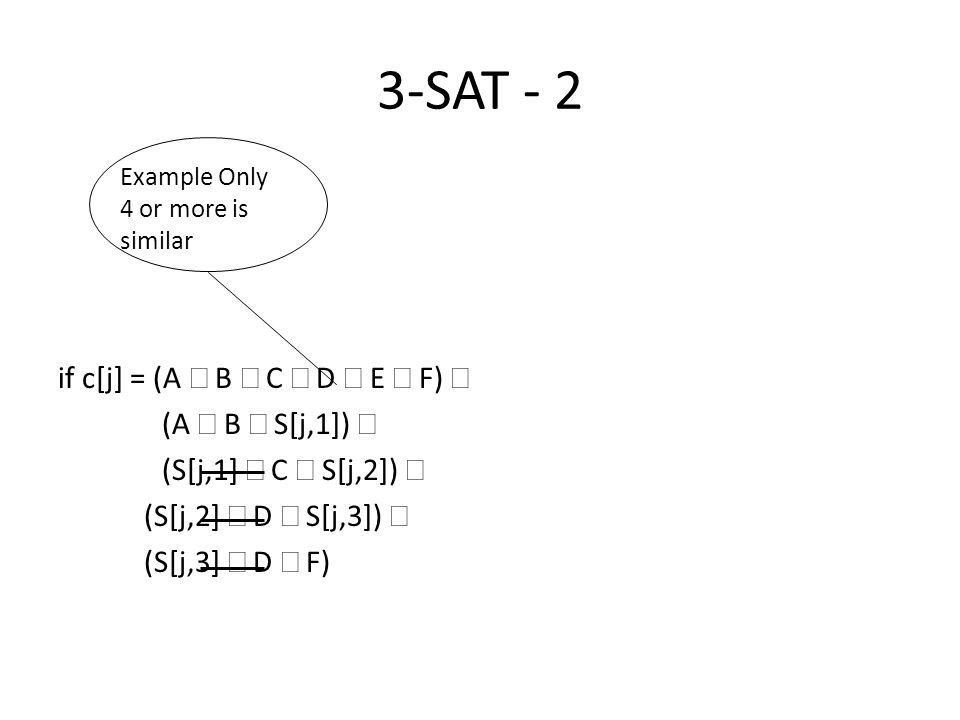 3-SAT - 2 if c[j] = (A Ú B Ú C Ú D Ú E Ú F) Þ (A Ú B Ú S[j,1]) Ù